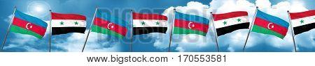 Azerbaijan flag with Syria flag, 3D rendering