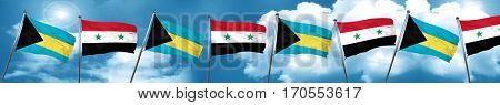 Bahamas flag with Syria flag, 3D rendering