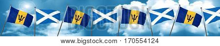 Barbados flag with Scotland flag, 3D rendering