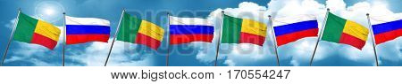 Benin flag with Russia flag, 3D rendering