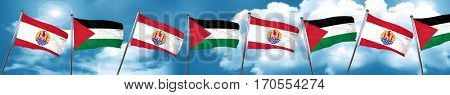 french polynesia flag with Palestine flag, 3D rendering