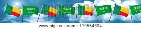 Benin flag with Saudi Arabia flag, 3D rendering