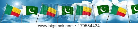 Benin flag with Pakistan flag, 3D rendering