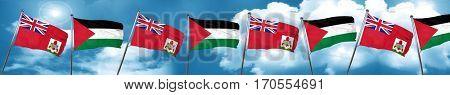 bermuda flag with Palestine flag, 3D rendering