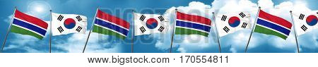 Gambia flag with South Korea flag, 3D rendering
