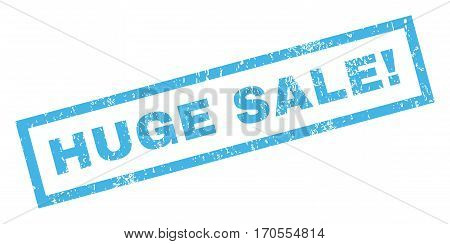 Huge Sale exclamation text rubber seal stamp watermark. Tag inside rectangular banner with grunge design and unclean texture. Inclined vector blue ink sticker on a white background.