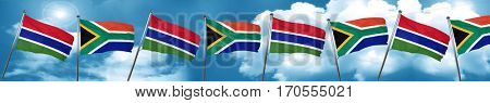 Gambia flag with South Africa flag, 3D rendering