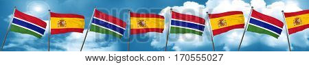 Gambia flag with Spain flag, 3D rendering