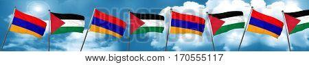 Armenia flag with Palestine flag, 3D rendering