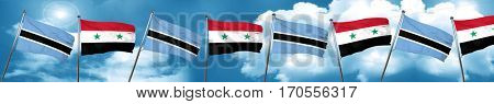 Botswana flag with Syria flag, 3D rendering