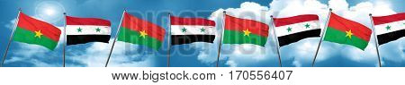 Burkina Faso flag with Syria flag, 3D rendering