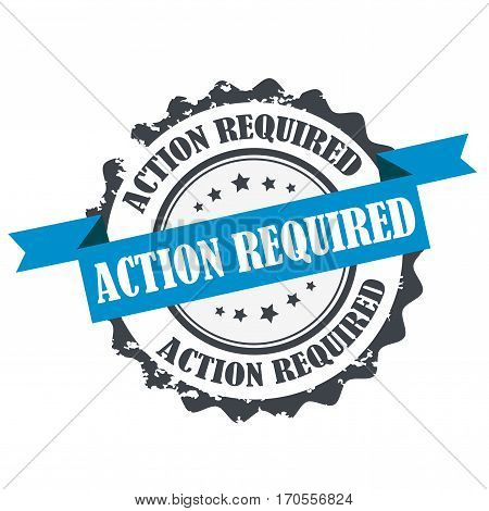Action required stamp.Sign.Symbol logo isolated on white