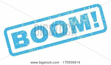 Boom exclamation text rubber seal stamp watermark. Caption inside rectangular banner with grunge design and dust texture. Inclined vector blue ink sticker on a white background.