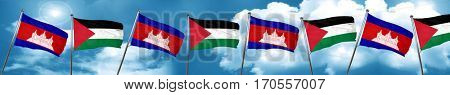 Cambodia flag with Palestine flag, 3D rendering