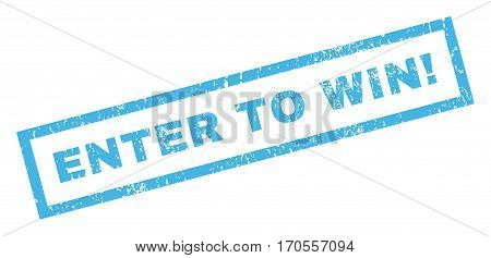 Enter To Win exclamation text rubber seal stamp watermark. Caption inside rectangular shape with grunge design and unclean texture. Inclined vector blue ink sticker on a white background.