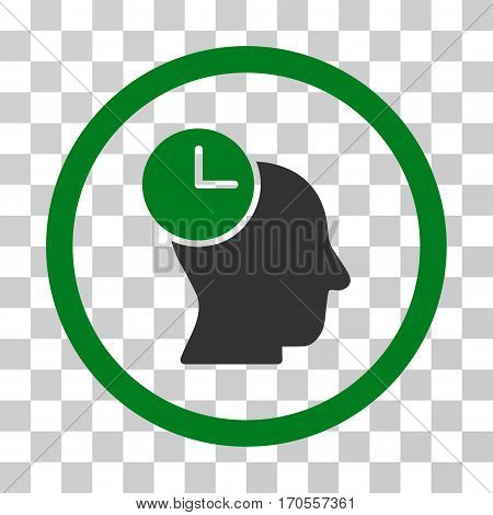 Time Thinking rounded icon. Vector bicolor illustration style is a flat iconic symbol inside a circle green and gray colors transparent background. Designed for web and software interfaces.