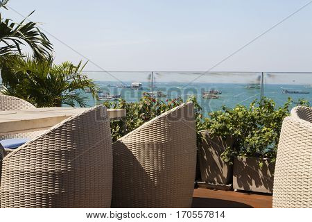 Beautiful seascape observed from the terrace of the coastal cafe