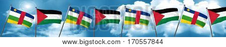 Central african republic flag with Palestine flag, 3D rendering
