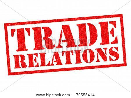 TRADE RELATIONS red Rubber Stamp over a white background.