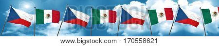 czechoslovakia flag with Mexico flag, 3D rendering