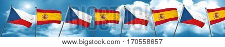 czechoslovakia flag with Spain flag, 3D rendering