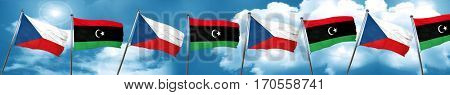 czechoslovakia flag with Libya flag, 3D rendering