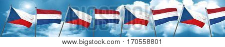czechoslovakia flag with Netherlands flag, 3D rendering