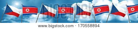 czechoslovakia flag with North Korea flag, 3D rendering