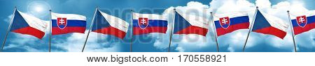 czechoslovakia flag with Slovakia flag, 3D rendering