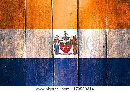 Vintage Albany flag on grunge wooden panel
