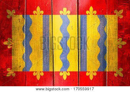 Vintage Cambridgeshire flag on grunge wooden panel