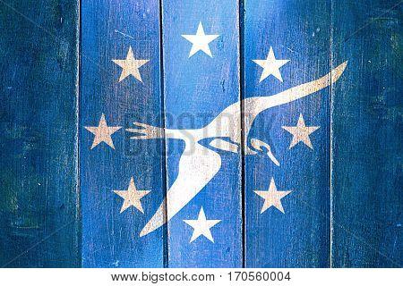 Vintage Corpus christi flag on grunge wooden panel