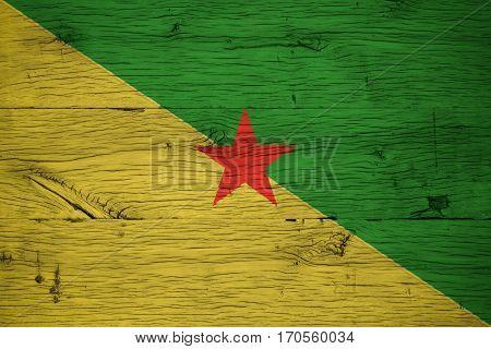 French Guiana National Flag Painted Old Oak Wood