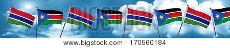 Gambia flag with South Sudan flag, 3D rendering