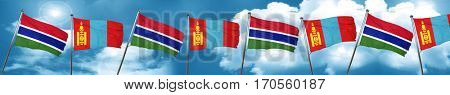 Gambia flag with Mongolia flag, 3D rendering