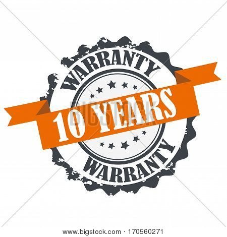 10 years warranty stamp. Sign.Symbol isolated on white
