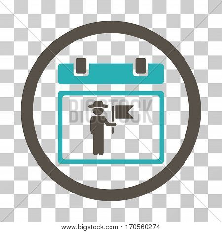 National Holiday Day rounded icon. Vector bicolor illustration style is a flat iconic symbol inside a circle grey and cyan colors transparent background. Designed for web and software interfaces.