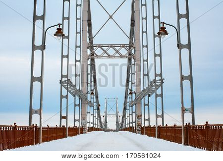 Symmetric high bridge structure front view. Abstract urban scene