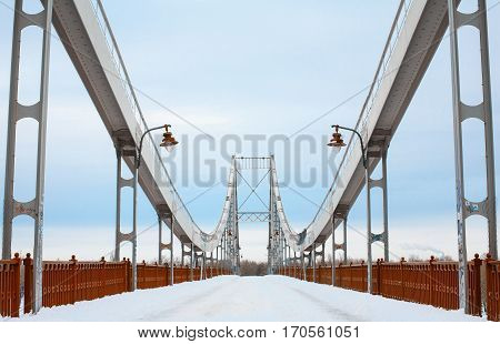 Symmetric abandoned bridge structure front view. Urban background