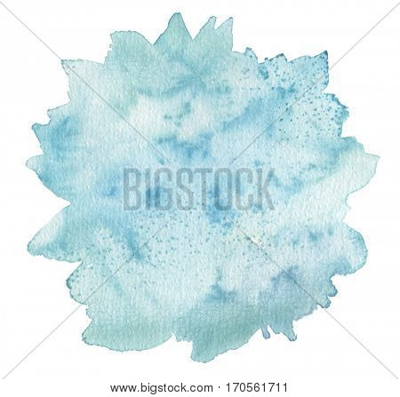 Circle cloud blot watercolor painted background. Texture paper. Isolated