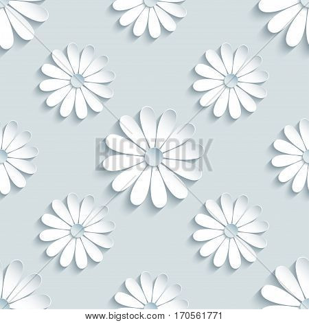 Beautiful modern grey background seamless pattern with white 3d flower chamomiles cutting paper. Floral trendy creative wallpaper. Stylish nature backdrop. Vector illustration