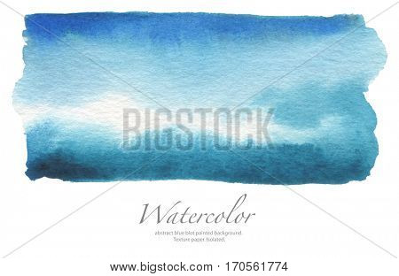 Abstract watercolor blue blot painted background. Texture paper. Isolated.