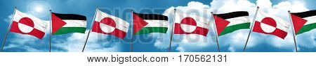 greenland flag with Palestine flag, 3D rendering