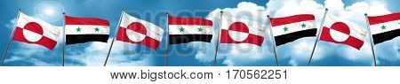 greenland flag with Syria flag, 3D rendering