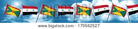 Grenada flag with Syria flag, 3D rendering