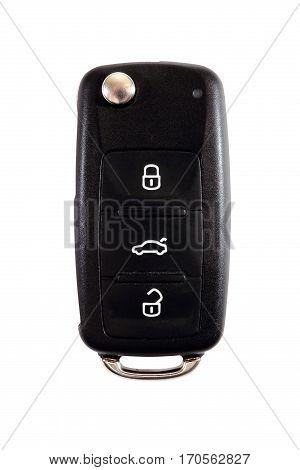 Car key close up isolated on white background. Ignition key over white backdrop.