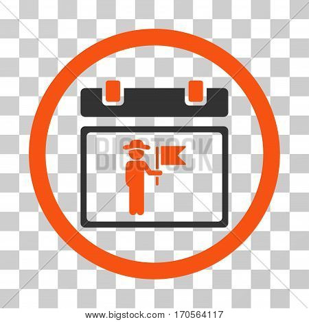 National Holiday Day rounded icon. Vector bicolor illustration style is a flat iconic symbol inside a circle orange and gray colors transparent background. Designed for web and software interfaces.