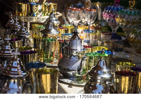 Arabic teapot, various glass vessels with many colors, typical style of Arab culture