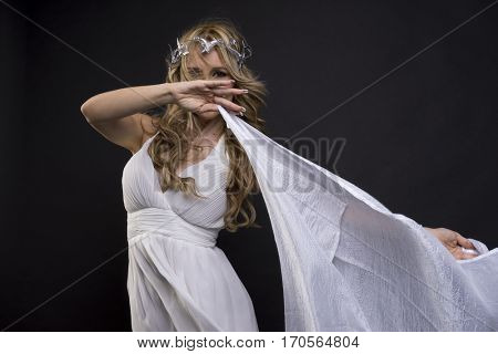 Aphrodite, Beautiful greek blonde woman, mythology, dressed in white silk dress and laurel wreath handmade with silver