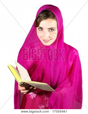 young pretty arabic girl reading
